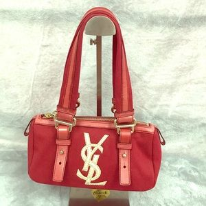 YSL MINI BOSTON BAG WITH DETACHABLE STRAPS VGC RED
